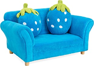 Best Choice Products Kids Armrest Sofa Chair Lounge Furniture Set with 2 Strawberry Cushion Pillows (Blue)