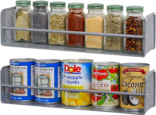 lowest 2 Pack - SimpleHouseware Wall Mounted Spice popular sale Rack, Silver outlet online sale