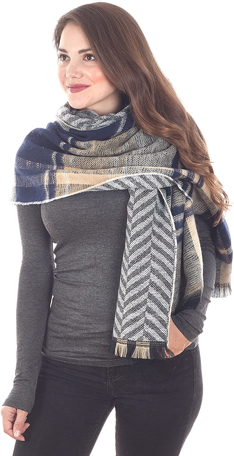 Taleen by Carino Fashions Navy bluee Checkered Design Scarf  30 x77 , 100% acrylic