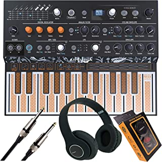 Arturia MicroFreak Hybrid Synthesizer 25-Key Paraphonic Hybrid Hardware Synth with Poly-aftertouch Flat Keyboard, Wavetable with Gravity Phone Holder, Bluetooth Headphone and EMB Cable Bundle
