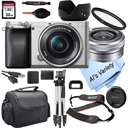 Sony Alpha a6100 Mirrorless Digital Camera (Silver) with 16-50mm Lens + 32GB Card, Tripod, Case, and More (18pc Bundle)