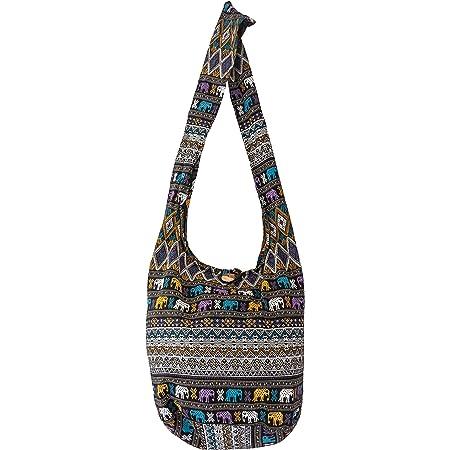 SLING Bag COTTON 40 PRINTs Männer oder Frauen CROSSBODY Tasche LARGE BOHO Hippie Hobo Handtasche (Aztec SD Black)