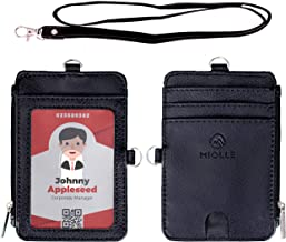 Miolle Lanyard with Id Holder Id Badge Holder Card Holder Wallet Card Holder Mini Wallet Id Lanyard Teacher Lanyard Cruise Lanyard Name Tag Holder Lanyard with Wallet Black