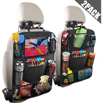 F/ácilmente lavable protector de asiento trasero organizador respaldo coche bolsa para respaldo para cosas de viaje y juguetes Organizador de asiento trasero para ni/ños con bolsillo para tableta
