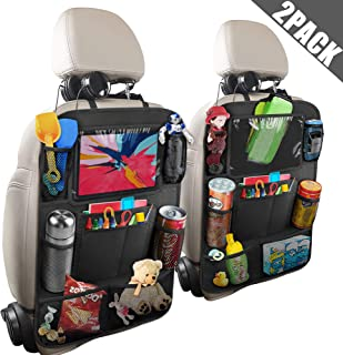 Anban Car Backseat Organizer with 10 Inch Tablet Holder + 9 Storage Pockets Kick Mats Back Seat Protector for Book Drink Toy Bottle, Travel Accessory for Kids and Toddlers (2 Pack)