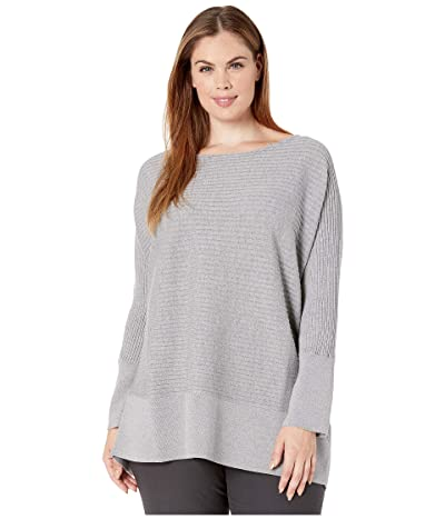 Eileen Fisher Plus Size Washable Wool Rib Bateau Neck Tunic (Pewter) Women