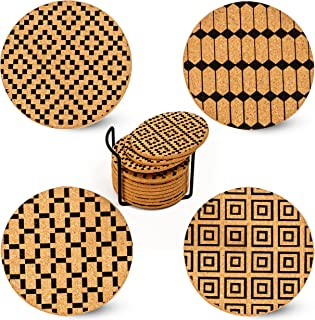 XEMARTO Coasters – 100% Natural Coasters for Drinks - Drink Coasters for Daily Use – Cork Coasters - Coasters for Wooden T...