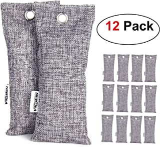 NEWBEA 12 Pack 75g Each Bamboo Charcoal Air Purifying Bag, Travel Size Shoe Deodorizer, Natural Air Freshener, Odor Eliminator, Activated Charcoal Odor Absorber for Shoes, Home, Closet, Car
