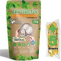 DULCILIGHT Eritritol 1 Kg 100% Natural Edulcorante Cero Calorías + (5 sobres Edulcorante Moreno) Apto Dietas Keto y...