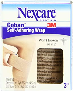 Nexcare Coban Self-Adherent Wrap, 3-Inch x 5-Yard Roll, 1 Count Box