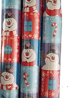 Frosty The Snowman Blue and Red Theme Gift Wrap -FROSTY Wrapping Paper 20 sq ft. 1 Roll