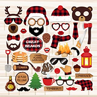 CC HOME Lumberjack Photo Booth Props,Buffalo Plaid Theme 1st Birthday Party Décor Supplies,Woodland Camping Baby Shower Decorations 44Ct