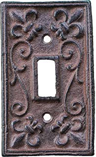 Lulu Decor, Fleur De Lis Cast Iron Switch Plate in Antique Rustic Brown Finish, Perfect for Any Room or Office Space.