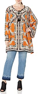 Women's Juniors Plus-Size Spice Printed Bell-Sleeve Dress
