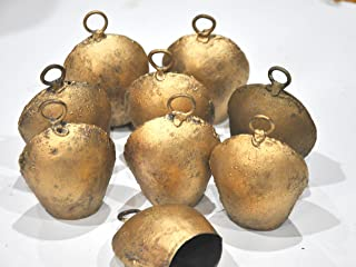 10 Hand Made Golden Cowbells Cow Bell Noisemaker, Iron Sheet Metal Cowbells with Clapper, Antique Golden Finish,Unique Home Accents, Craft Christmas Wedding (Set of 10) Wholesale Cow Bells