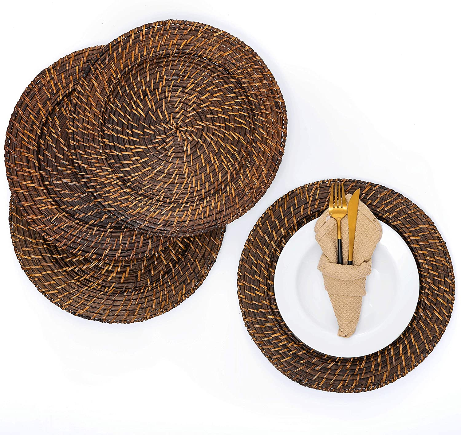 Artera Wicker Rattan Charger Plates - Set Wo Kansas City Mall Round New color inch 13 of 4