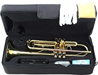 Crescent Concert Band Gold Plated Trumpet w/Case + Tuner - Teacher Approved