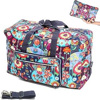 Large Foldable Travel Duffel Bag 50L Oversized Cute Floral Travel Tote Hospital Bag Handbag Shoulder Weekender Overnight Carry On Bag Checked Luggage Bag For Women Men Girls Kids, Packable Waterproof