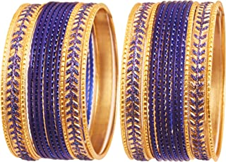 """جديد! Touchstone """"مجموعة إسورة دستة ملونة معدنية 2 دستة"""" مجوهرات هندي بوليوود باللون الأزرق الملكي الذهبي لون مجوهرات خاصة..."""