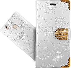 Oukitel U7 Plus Case, FoneExpert Bling Diamond Butterfly Flowers Leather Kickstand Flip Wallet Bag Case Cover For Oukitel U7 Plus