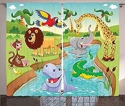 Ambesonne Children Curtains, Cartoon Safari Animals Swimming in The Lake Elephant Lions and Giraffe Art, Living Room Bedroom Window Drapes 2 Panel Set, 108