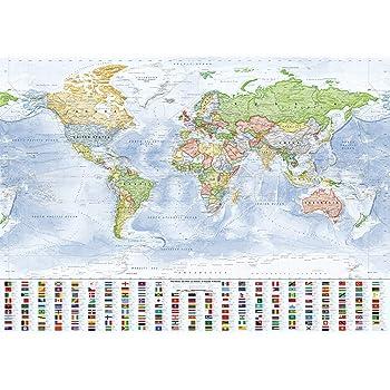 J.Bauer Karten Mapa del Mundo político, 140x100 cm, en Inglés, Versión 2019: Amazon.es: Juguetes y juegos