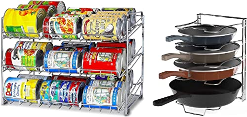 lowest SimpleHouseware Stackable Can Rack outlet sale Organizer + 5 outlet sale Adjustable Compartments Pot Organizer, Chrome sale
