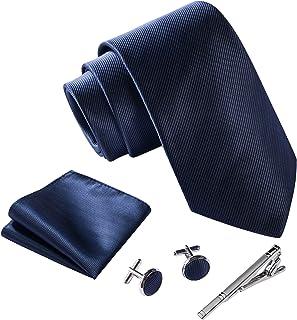 Massi Morino ® Mens Tie Set (Cufflinks and tie set) Box including Men ties + Cufflinks + handkerchief