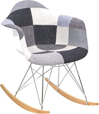 LeisureMod Wilson Twill Fabric Eiffel Base Rocking Armchair (Patchwork)