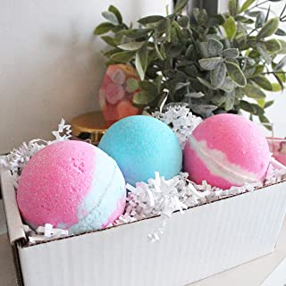 Handcrafted Big Bath Bombs Lush Cotton Candy Pink Sugar Bubble Gum Mix Fizzy Gift Set Box Relaxtion Spa Moisturize Dry Skin Gifts For Her Girls Mothers Day Mom Girls Kids All Natural Handmade in USA