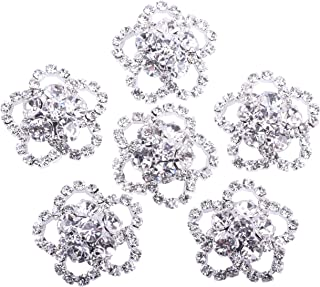KAOYOO 10Pcs Crystal Rhinestone Flowers Embellishments Buttons Silver Plated Sew on Buttons(23mm)