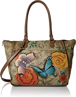 Anna by Anuschka Tote Bag | Genuine Leather | Large, Floral Paradise Tan