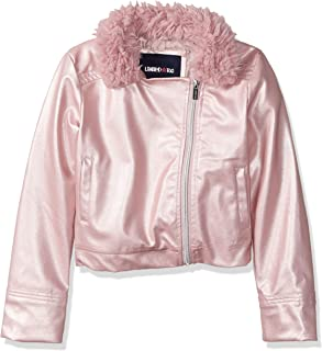 Girls' Metallic Vegan Leather Jacket with Faux Fur Collar