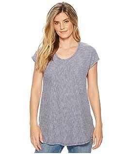 Micro Stripe Diagonal Seamed T-Shirt w/ Pockets