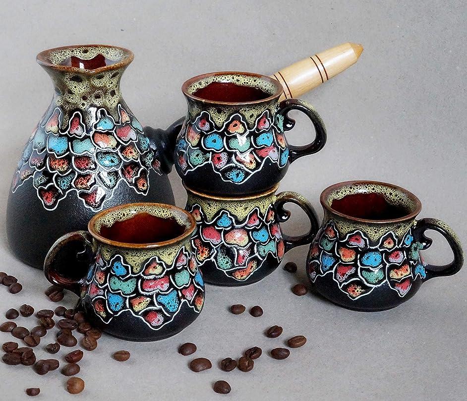 Handmade ceramic coffee set, Birthday gift set, Turkish coffee serving sets for 4, Wedding present, Mosaic Housewarming gift, Colorful coffee gifts