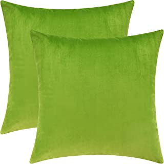 Mixhug Set of 2 Cozy Velvet Square Decorative Throw Pillow Covers for Couch and Bed, Chartreuse, 18 x 18 Inches