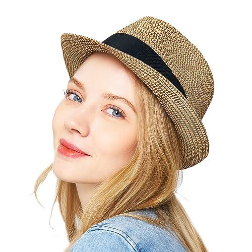 6ae60a5580d83 EUPHIE YING Women Summer Fedora Beach Sun Hats Short Brim