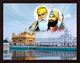 Handicraft Store Gurunank dev ji and Guru gobind Singh ji Giving Blessings Outside Golden Temple Temple, A Painting Poster with Frame, Must for Sikh Family Home/Office