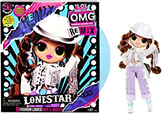 [NEW] L.O.L 서프라이즈 OMG 리믹스 '론스타' 패션 인형 LOL Surprise OMG Remix Lonestar Fashion Doll, Plays Music with Extra Outfit, 25 Surprises