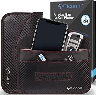 TICONN Faraday Bag for Cell Phone (2 Pack), GPS RFID Signal Blocking Bag, Shielding Pouch Wallet Phone Case (Carbon Fiber)