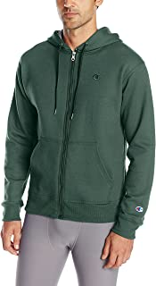 Champion Men's Powerblend Full-Zip Hoodie, Dark Green, Medium