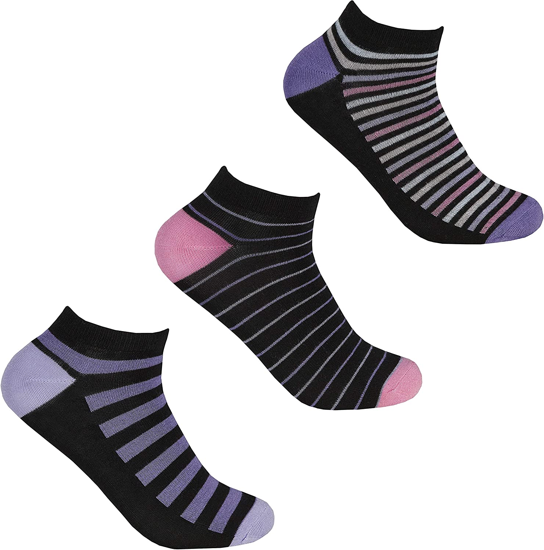 Ladies 3 Pack of Striped Bamboo Trainer Liner Socks (Pack B)