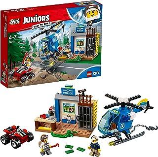 LEGO Juniors - Persecución Policial en la Montaña, Juguete de Policía de Construcción con Helicóptero para Niños de 4 a 7 Años, Incluye Minifiguras y Vehículo Todoterreno (10751)