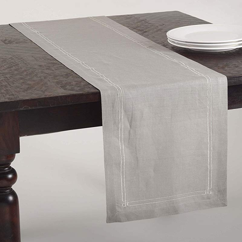 SARO LIFESTYLE 4427 Kaitlyn Collection Embroidered Design Table Runner 14 X 72 Inch Grey 14 X 72