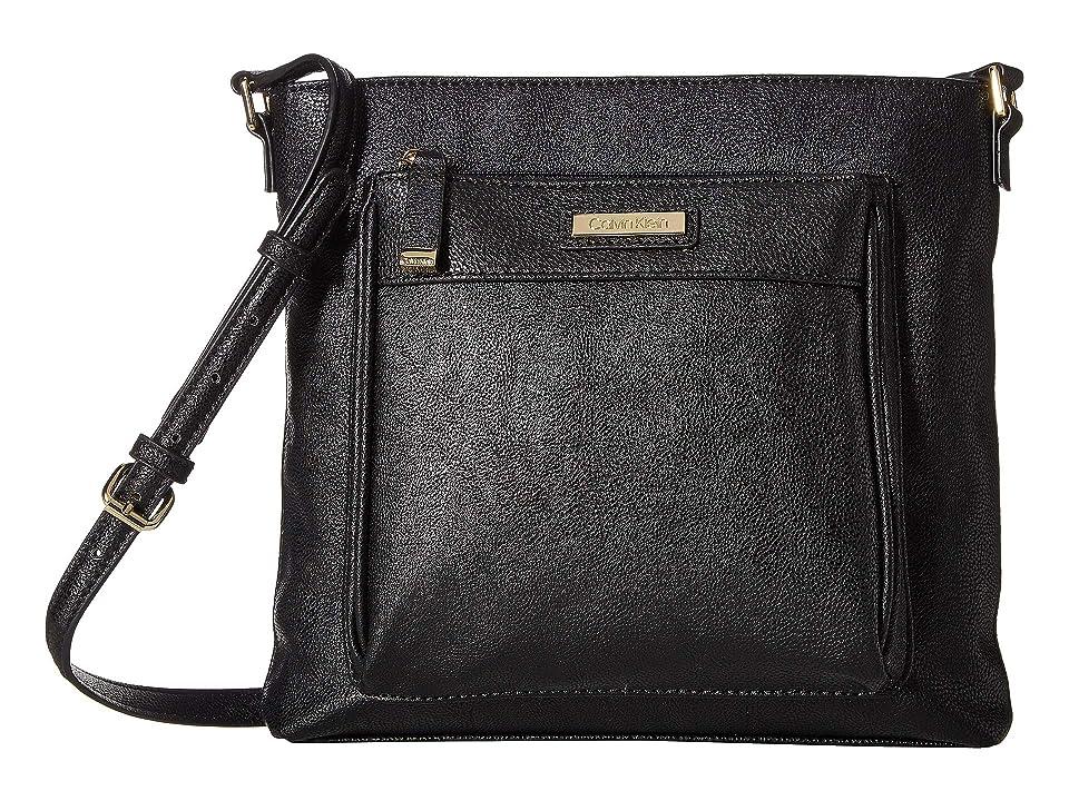 Calvin Klein Novelty Top Zip North/South Crossbody (Black/Gold) Cross Body Handbags