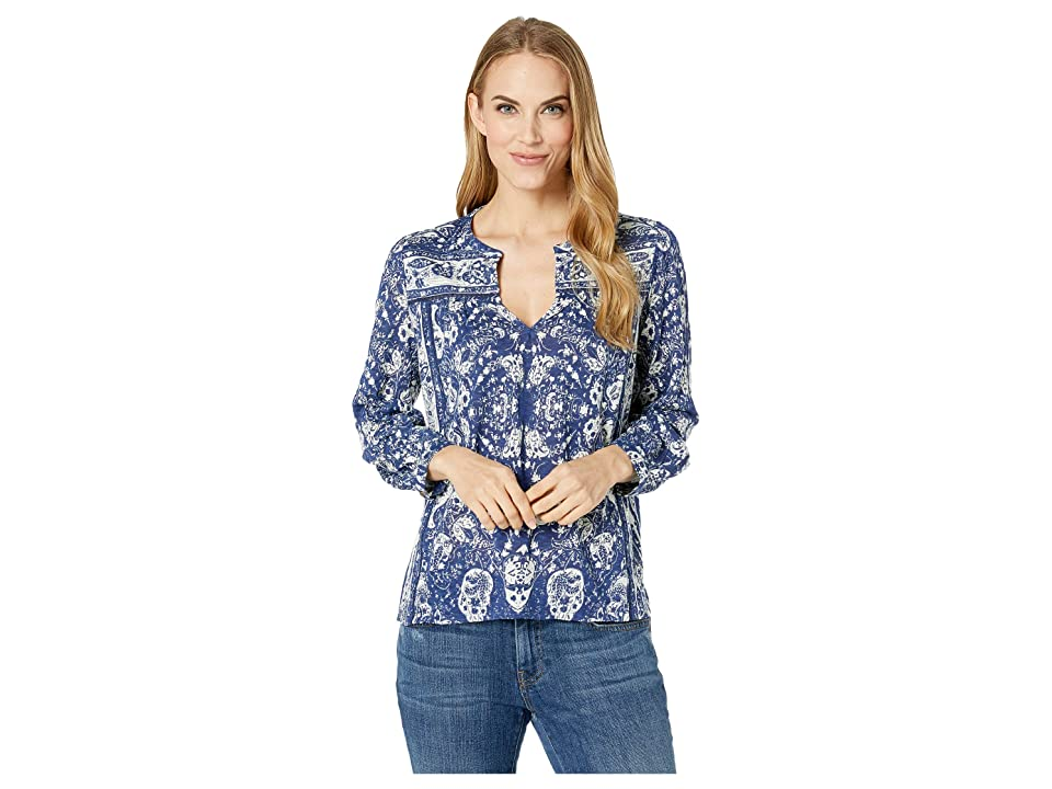 Lucky Brand Peasant Top (Blue Multi) Women's Long Sleeve Pullover