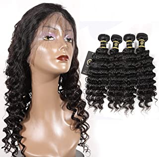 HZSHMM 10A Grade Brazilian Hair Deep Wave 4 Bundles (22 24 26 26inch Natural Black Color) 400g 100% Unprocessed Virgin Human Hair Extensions Hair Weaves Hair Weft (22″ 24″ 26″26″)