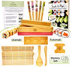 Sushi and Maki Making Kit from Grow Your Pantry - With Sushi Rolling Mat, Bamboo Maki Mold and Japanese Sauce Tray. Plus C...