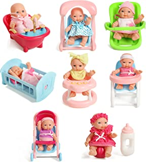 "Mommy & Me Newborn Set of 8 Assorted 5"" Mini Baby Dolls with Accessories, High Chair, Stroller, Crib, Car Infant Seat, Bat..."
