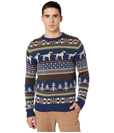 J.Crew Fair Isle Wool Crewneck Sweater in Dog Pattern (Fair Isle Heather Indigo) Men